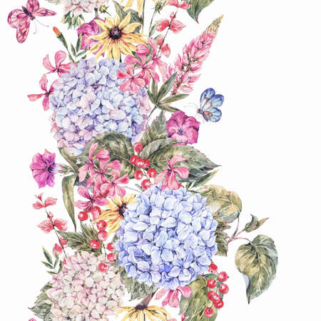 botanical illustration: Shabby Watercolor Vintage Floral Seamless Border with Blooming Hydrangea, Red currant, wildflowers, botanical natural hydrangea Illustration on white background