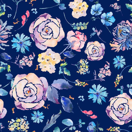 pattern: Watercolor seamless pattern with chrysanthemums, roses