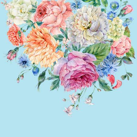 pfingstrosen: Watercolor peonies, roses and wild flowers