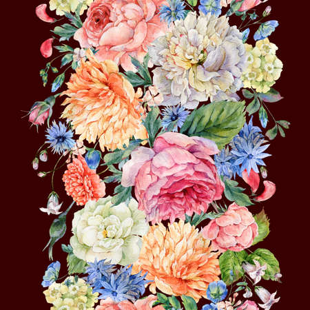 Watercolor seamless vertical border with blooming peonies, roses