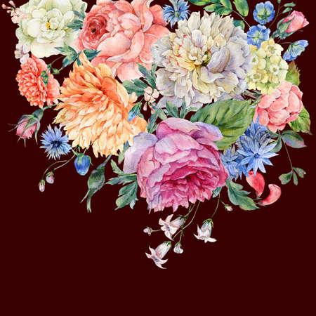 Waterverfpioenen, rozen en wilde bloemen