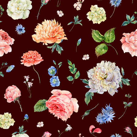 Watercolor seamless pattern with blooming peonies, roses