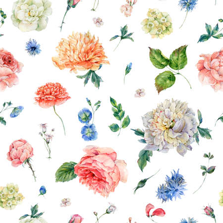 pattern: Watercolor seamless pattern with blooming peonies, roses