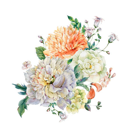 Watercolor blooming peonies and wild flowers