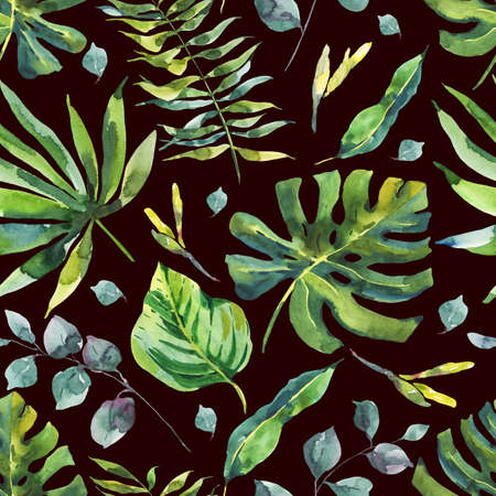 petal: Watercolor Seamless Pattern with Tropical Leaves Stock Photo