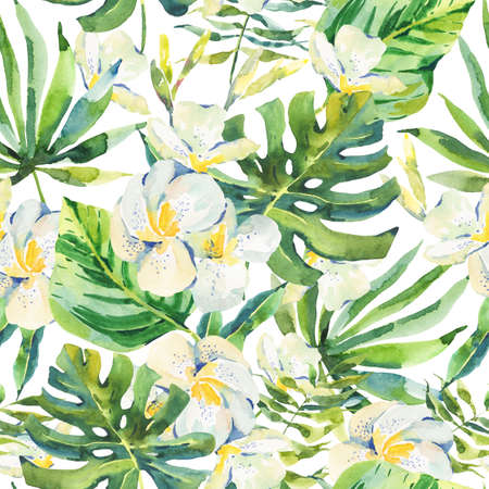 petal: Watercolor seamless pattern with tropical leaves and orchid