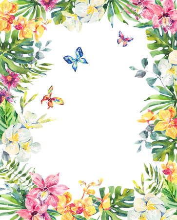 Tropical summer watercolor floral frame