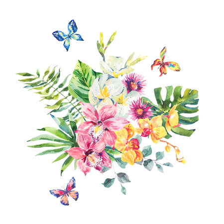 petal: Tropical summer watercolor greeting card