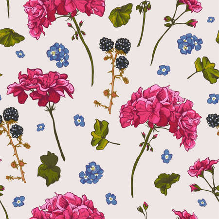 Floral seamless pattern with blooming geraniums.