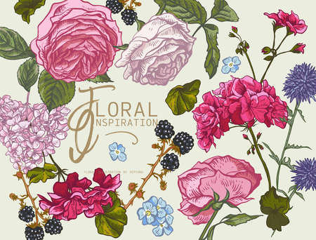 Vector vintage floral greeting card with blooming roses, geraniums, meadow flowers, blackberry. Natural floral illustration.