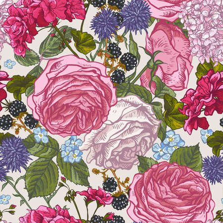 Vector vintage floral seamless pattern with blooming roses, geraniums, blackberry, meadow flowers, Natural floral illustration on white background.
