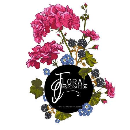 Vector Vintage floral Grußkarte mit blühenden Geranien, Wiesenblumen, Brombeere. Natürliche Blumenillustration.