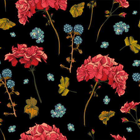 Floral seamless pattern with blooming geraniums Illustration
