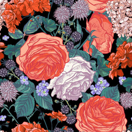 Vector vintage floral seamless pattern with blooming roses, geraniums, blackberry, meadow flowers, Natural floral illustration on black background. Illustration