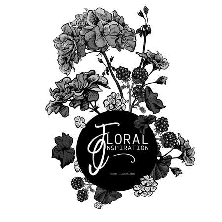 Floral monochrome greeting card with blooming geraniums Illustration