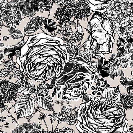 Vector einfarbige Weinlese-nahtloses mit Blumenmuster mit blühenden Rosen, Pelargonien, Brombeere, Wiesenblumen, Natürliche Blumenillustration auf weißem Hintergrund.