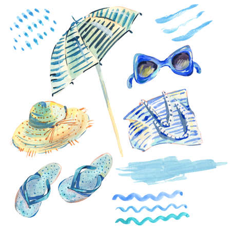 Summer watercolor set of summer beach objects