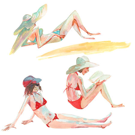Set of watercolor girl on the beach Stock Photo