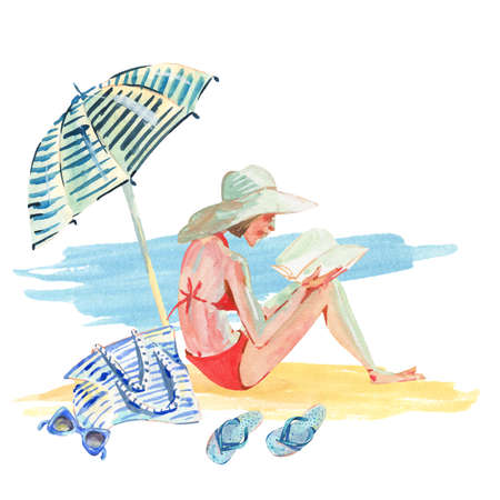 Watercolor girl on the beach