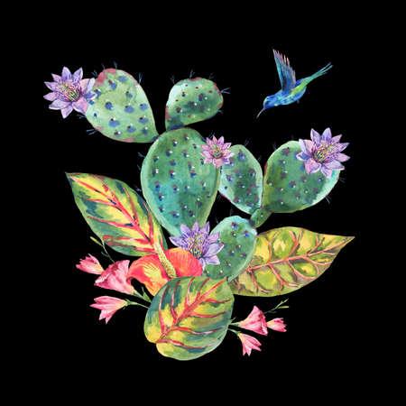 Watercolor Cactus, tropical flowers, hummingbird