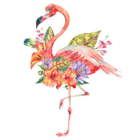 white fabric texture: Watercolor pink flamingo and tropical flowers