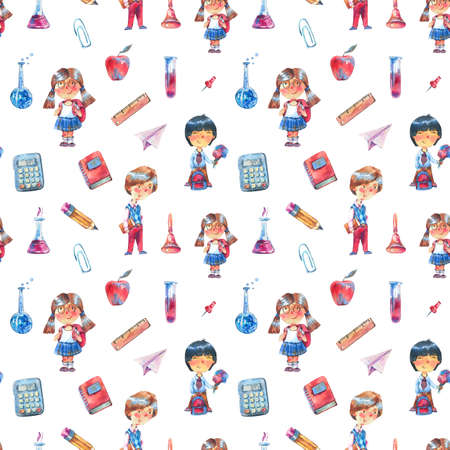 Watercolor back to school seamless pattern