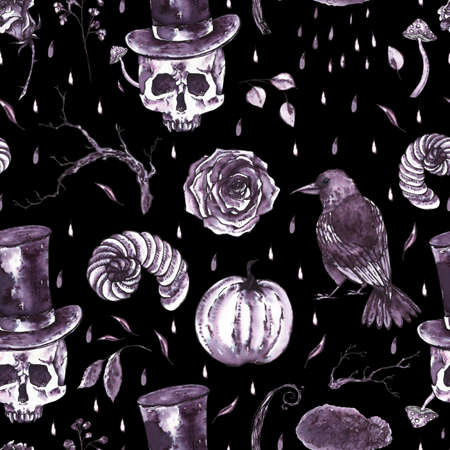 Monochrome watercolor hand drawn seamless pattern with skull