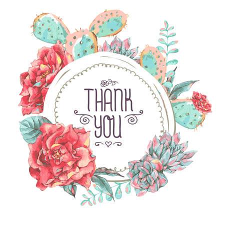 花が咲くとビンテージ グリーティング カード。あなたのテキストのための場所をありがとうございます。バラ、野の花、サボテン、多肉植物のベク