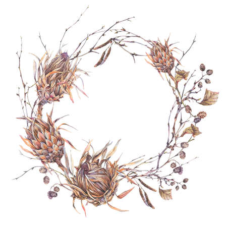Watercolor botanical round frame, Flowers protea, wildflowers, twigs, branches and leaves. Dry vintage bouquet, greeting floral card isolated on white background. Nature illustration