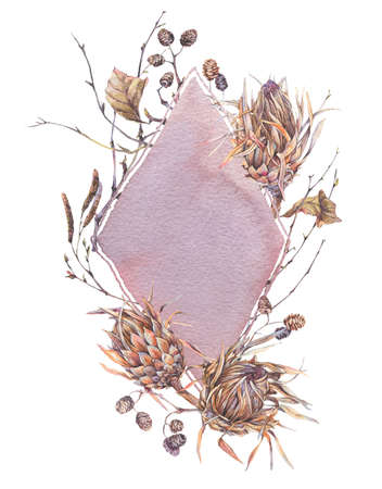 Watercolor botanical frame, Flowers protea, wildflowers, twigs, branches and leaves. Dry vintage bouquet, greeting floral card isolated on white background. Nature illustration