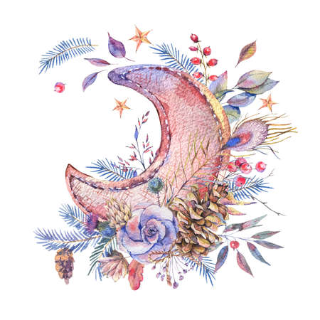 Watercolor greeting card with moon and roses Banco de Imagens - 91528931