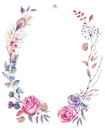 Floral greeting wreath with roses 스톡 콘텐츠