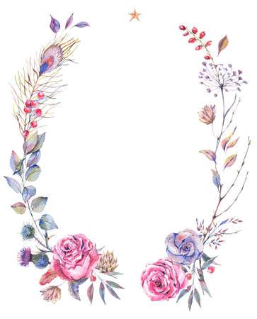 장미와 꽃 인사말 화환 스톡 콘텐츠