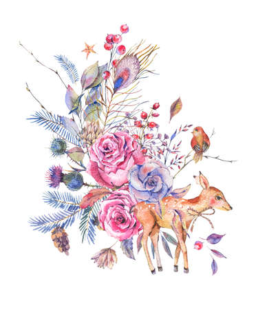 Watercolor floral greeting card with cute deer Stock Photo