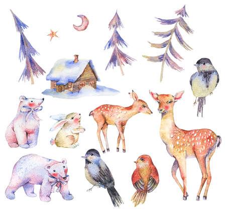 Set of watercolor cute polar bears, deer, fawn, hare Stock Photo