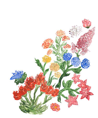 Watercolor greeting card with garden flowers