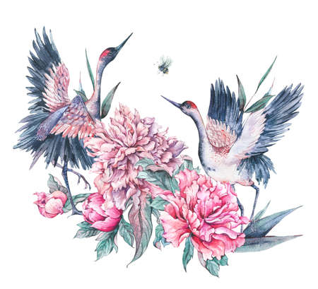 Watercolor nature card with crane and pink peonies Foto de archivo