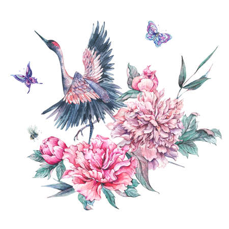 Watercolor nature card with crane and pink peonies Archivio Fotografico