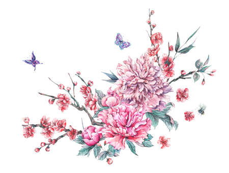 Watercolor blooming branches of cherry, peonies