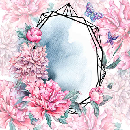 Watercolor nature polygonal frame with crane Imagens