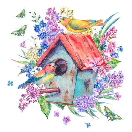 Aquarellillustration mit Vogelhaus und Vögeln Standard-Bild - 95989231
