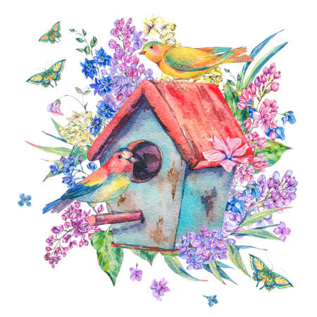 Watercolor illustration with birdhouse and birds Stock Photo