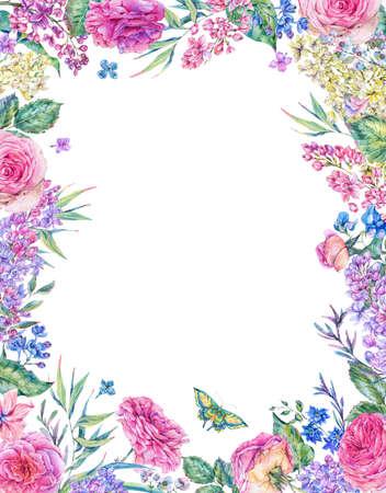 Vertical watercolor roses greeting card Banco de Imagens