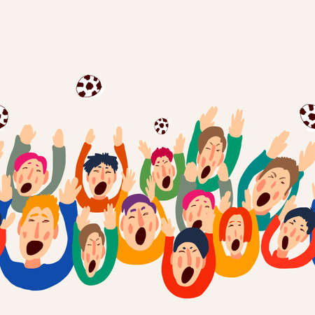 Football vector fans, cute colorful seamless border, vector illustration Vettoriali