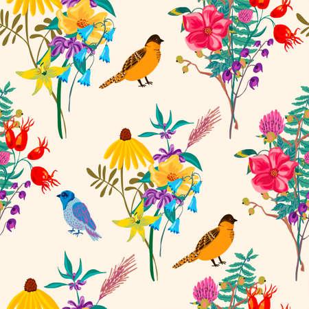 Bird and flowers. Vintage vector summer seamless pattern