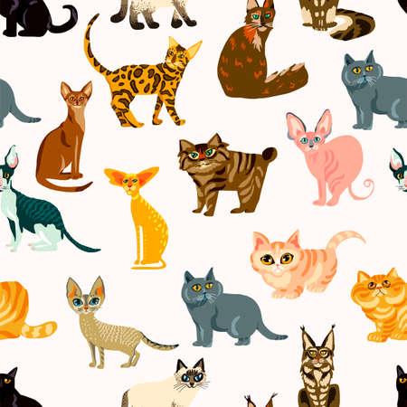 Dibujos animados de gatos de patrones sin fisuras, razas de gatos de ilustración