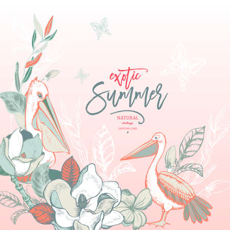 Vector summer tropical vintage exotic greeting card, Magnolias and Pelican, natural illustration on pink background 向量圖像
