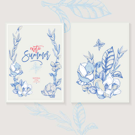 Vector magnolia invitation greeting card, natural illustration