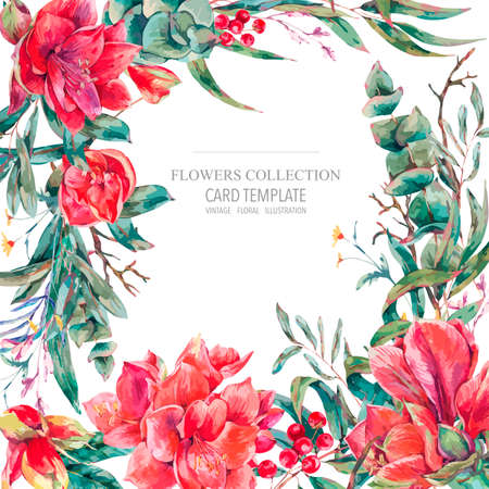 Vector floral template card of red flowers, Amaryllis, eucalyptus, tropical leaves and succulents, botanical natural vintage illustration Illustration