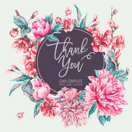 Vector nature card pink flowers, blooming peonies, Floral decoration, Hand painted illustration